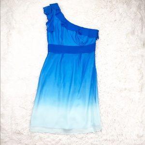 Gianni Bini blue ombré one shoulder dress size 2